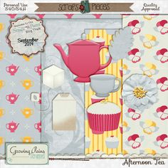 FREE September SNP Blog Train – Afternoon Tea Free mini Kit By Growing Pains Scrapped [ more than 25 designers ]