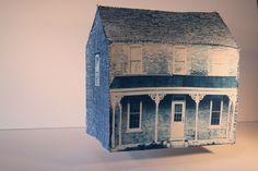 Cyanotype print sewn to mesh frame
