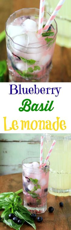 Blueberry Basil Lemonade by Noshing With The Nolands - Refreshing homemade lemonade with fresh basil and blueberries. The perfect summer drink