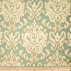 Hamilton Fresco Jacquard Turquoise from @fabricdotcom  Refresh and modernize an old piece of furniture and update it with a new look. This medium/heavyweight jacquard fabric is appropriate for some window treatments, accent pillows, upholstering furniture, headboards and ottomans. Colors include ivory, gold and turquoise.