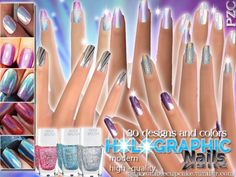 The Sims Resource: Holographic Nails Collection-30 different nails by Pinkzombiecupcake • Sims 4 Downloads