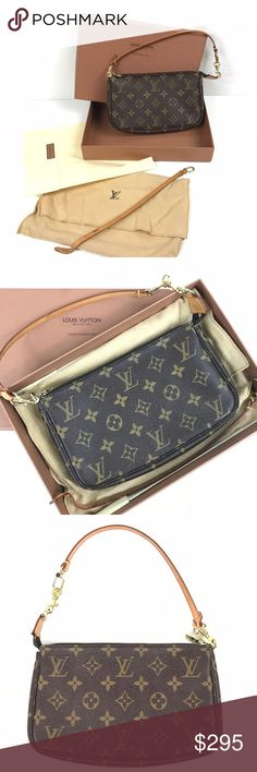 Authentic Louis Vuitton Monogram Wristlet Purse EUC Authentic Louis Vuitton Monogram Wristlet Pochette Clutch Purse Strap SD0959  Excellent used condition (LIKE NEW). No signs of wear. Old strap has been replaced with new strap and purchased at Louis Vuitton store. Old strap, dust bag, and original box are included.  Serial Number: SD0959 Louis Vuitton Bags Clutches & Wristlets
