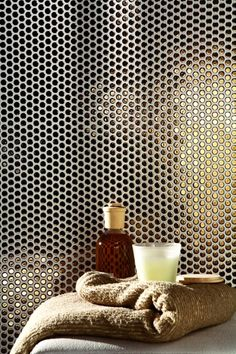 Ceramic wall tiles PAILLETTES by LEA CERAMICHE Maybe use perforated metal that's been layed in resin, and then use rub and buff for golden parts. This might look amazing with a honey colored resin that is backlit. Ceramic Wall Tiles, Mosaic Tiles, Hotel Benidorm, Rub And Buff, Tiles Texture, Interior Walls, Interior Design, Wall Treatments, Tile Patterns