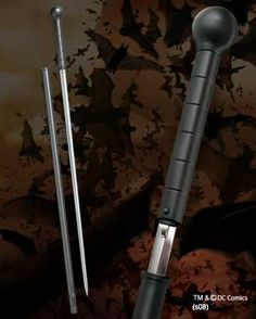 Batman Begins Cane Sword   Measures 39 Inches in length. Made of Diecast metal, stainless Steel Blade.