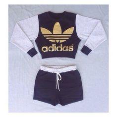 black adidas jumper shorts crop top gold grey | @giftryapp