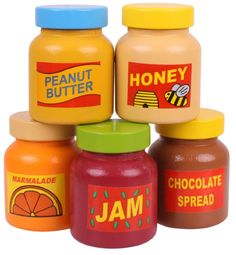 This authentic looking wooden Jam Jar will be put to good use in the play kitchen, Bigjigs Toys wooden play food is ideal to help your little one to learn about the importance of a healthy and balanced diet, where our food comes from and how we prepare o Wooden Play Food, Wooden Play Kitchen, Kids Play Kitchen, Play Kitchens, Toy Kitchen Accessories, Baby Doll Accessories, Little Girl Toys, Toys For Girls, Toddler Toys