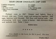 Bobbie Salvo's Sour Cream Chocolate Chip Cake