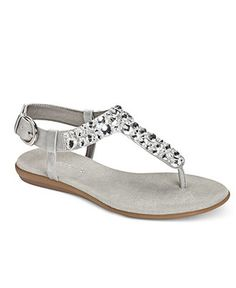 Aerosoles Shoes, Chloud Nine Flat Sandals - Sandals. Silver Combo. Also in black and gold.