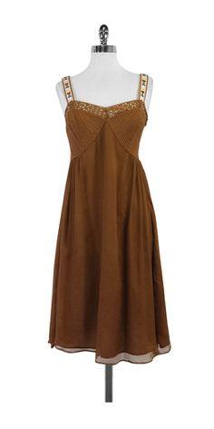 Catherine Malandrino Rust Silk Sleeveless Dress