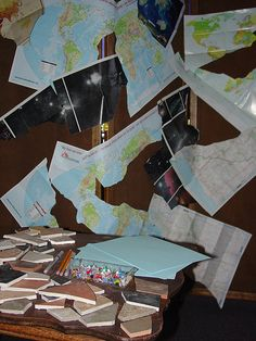 Prayers for a broken world station Tear a piece of paper, write a prayer for a broken part of the world, and pin it to the maps Prayer Corner, Prayer Wall, Prayer Room, Prayer Board, Prayer Ministry, Women's Ministry, Ministry Ideas, Prayer For Church, Kids Prayer
