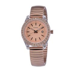 Fossil Women's ES2907 Rose Gold stainless Steel expandable band Rose Gold Case & Dial Crystallized bezel Watch