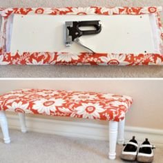 DIY bench using an unused shelf board...genius! i have some of these lyin' around.
