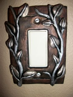Leaf Vines, Polymer Clay Light Switch Plate, $24