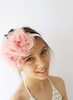 Stretch headband with tulle flowers by AylinkaShop on Etsy