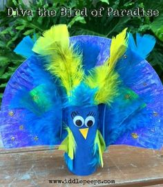 Diva the Bird of Paradise Iddle Peeps creative kids craft & activity www.iddlepeeps.com recycled craft