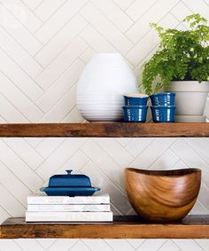 white herringbone + wood shelving