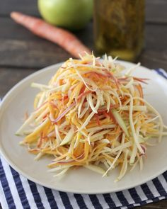 Sweet Julienned Salad.  Carrots, parsnips, butternut squash, green apple, fennel, and red onion in an herb lemon vinaigrette. #paleo #primal
