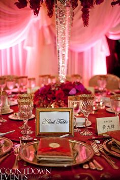 Chinese Fusion Wedding, Head Table Up Close. A Blend Of Traditional And  Modern Elements