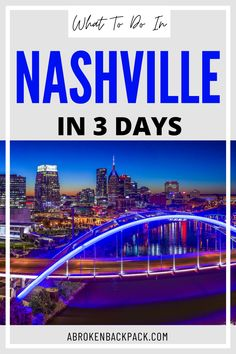 Discover our Nashville itinerary and plan the perfect 3 days in Nashville. Best things to do, best restaurants, and more! Travel Guides, Travel Tips, Nashville Skyline, Centennial Park, Pedestrian Bridge, Parthenon, Usa Travel, Cool Places To Visit, Night Life