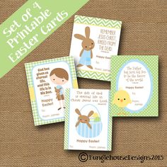 Children's Easter Cards DIY PRINTABLE by bunglehousedesigns