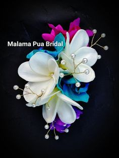 TROPICAL HAIR CLIP, Wedding headpiece, silk orchids, Hawaiian Plumeria, hair flowers, hair accessory, bridal, silk hair flower, headpiece by MalamaPuaBridal on Etsy