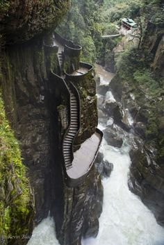 The staircase at Pailon del Diablo Baños Ecuador. Риэлторская Компания The staircase at Pailon del Diablo Baños Ecuador. Риэлторская Компания А. Places Around The World, Oh The Places You'll Go, Cool Places To Visit, Around The Worlds, Amazing Places On Earth, Beautiful Places In The World, Vacation Places, Dream Vacations, Vacation Spots