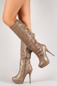 Zipper Double Buckle Platform Stiletto Knee High Boot