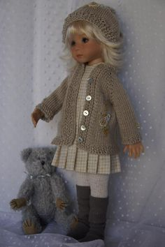 """photo DSC07760_zpsca846911.jpg """"Change It Up"""" by LadybugsDollDesigns on ebay. Hat, sweater, leggings, jumper and mohair bear toy. SOLD 1/25/15 for $135.00"""