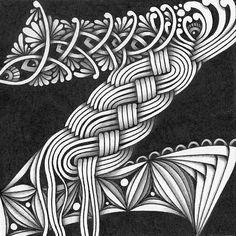 Photo: Zentangle. TanglePatterns String 200 - String is shared by Canadian CZT Margaret Bremner. Размер: 9х9 см. Гелевая ручка, карандаш.
