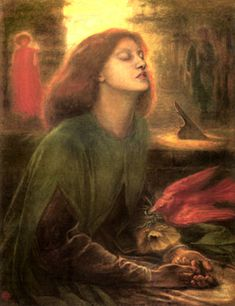 Beata Beatrix   1863 (30 Kb); Tate Gallery, London   The death of Beatrice from The Divine Comedy by Dante, the original Italian poet. This painting also reflects Rossetti's greif after the death of his wife, Elisabeth Siddal, the model for Beatrice, painted from memory after her death.