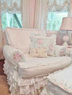 This chair & ottoman are upholstered with such cozy comfy fabrics .