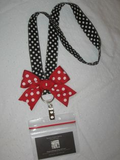 Disney Minnie Dot LANYARD with BOW ticket by rileyjanecustoms, $12.00