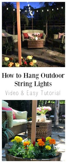 String Light Posts String Light Solution Hang Patio Lights Using Planters And Wood