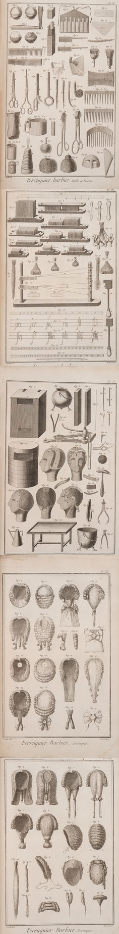 Men and women of the 18thC accepted that it was part of their public persona to wear a more modest hairpiece when at work or in society.  Here represented are the many tools, molds and techniques employed in the complex process of producing fashionable hairpieces.  Note the instruments for measuring heads and wigs; wig patterns and tools used by wigmakers; and common examples of wigs and the queues affixed to them | MIT Exhibit. Image composition: @LucindaBrant
