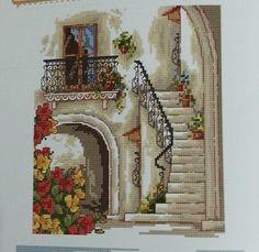 Balkon 1 Cross Stitch House, Cross Stitch Charts, Cross Stitch Patterns, Cross Stitching, Cross Stitch Embroidery, Cross Stitch Geometric, Vintage Cross Stitches, Cross Stitch Flowers, Sewing Patterns