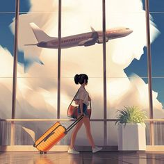 Departure My next piece is finished! I ended up developing my cloud study and ended up with this. That plant took longer than you'd think! Girly Drawings, Art Drawings Sketches, Art Illustrations, Anime Scenery Wallpaper, Anime Artwork, Cute Cartoon Wallpapers, Animes Wallpapers, Alone Art, Japon Illustration