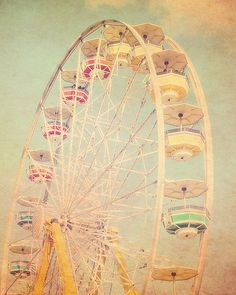 Carnival Photography, Pastels, Cotton Candy, Ferris Wheel, fpoe, Rainbow Colors, Babys Room, Nursery - Rainbow Ferris Wheel (8x10)