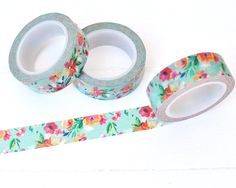 Turquoise Floral Washi Tape. 15mm x 10m. Colorful by WashiSupplyCo