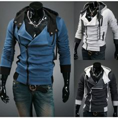 $ 24.97+ free shipping! Stylish Multi Zipper Coat Hooded Sweater Shirt Hoodie Turn Down Collar for Men - Three Colors for Choice