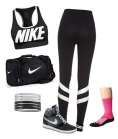 """Nike Workout Outfit"" by hanakdudley ❤ liked on Polyvore featuring NIKE"