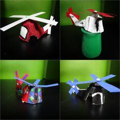 hélicoptères boite à oeufs,soliflore en pot de yaourt