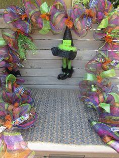 10 halloween garland halloween deco mesh garland the witch is in garland halloween door decor bat spider garland witch hat broom garland - Deco Mesh Halloween Garland
