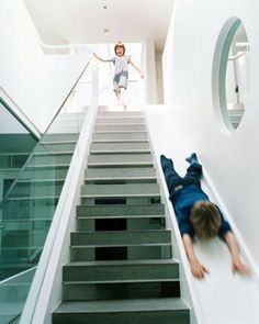 Sometimes stairs can be very boring. That is why some creative people decide to make indoor slides. Indoor slides are very fun and exciting. Blog Architecture, British Architecture, Future House, My House, Story House, Kids House, Stair Slide, Stairs With Slide, Indoor Slides