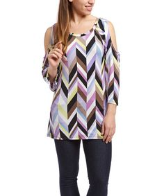Shoulder-baring cutouts add playful dimension to this fluid stretch-blend top. Cut Out Top, Black Chevron, Spring Tops, Lilac, Shoulder, Blouse, Women, Fashion, Moda