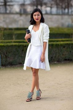 Looking for a look that's layered & fabulous? This all white ensemble w/ beautiful & unique graphic heels is perf for a garden party or brunch on a sunny day.