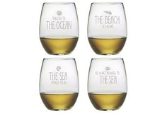 S/4 Assorted Beach Stemless Wineglasses on OneKingsLane.com by Susquehanna Glass $39
