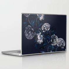dark paeonias blue floral pattern Laptop & iPad Skin
