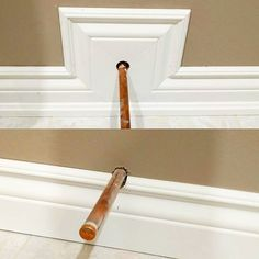 Here is a tip if you are running baseboard and come across a toilet supply that is too low. Typically I see people notch the baseboard (bottom) and then fill around the pipe cover plate with caulking. I don't think I need to remind you how hacked that looks. Extend your baseboard up with a few 45* cuts, so the cover plate can land on the flat. Also, note the more attractive solid plumbing line versus braided plumbing.