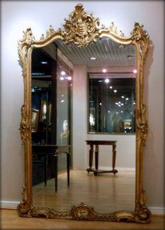 Miroir ancien dor coquille noeud carquois et flambeau for Grand miroir ancien