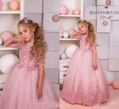 2017 New Girls Pageant Dresses Jewel Neck Illusion Short Sleeves Pink Lace Appliques Tulle Kids Flower Girls Dress Princess Birthday Gowns